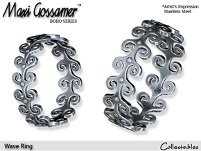 Wave Ring in Polished Silver