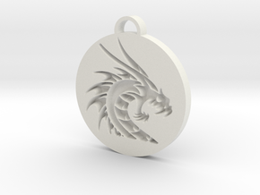 Dragon pendant in White Strong & Flexible