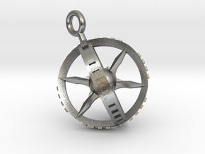 Compass Gyroscope Pendant in Natural Silver