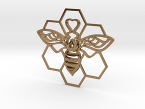 The Bee Pendant in Natural Brass