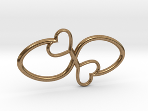 Eternal Double Heart Pendant in Natural Brass