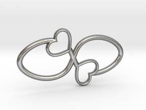 Eternal Double Heart Pendant in Natural Silver