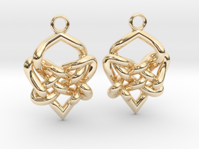 Celtic Heart Knot Earring in 14K Yellow Gold