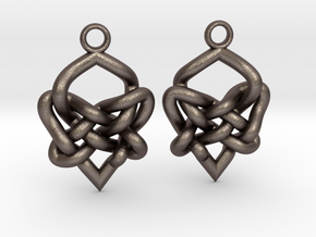 Celtic Heart Knot Earring in Polished Bronzed Silver Steel
