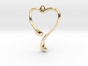 Heart shape pendant in 14K Yellow Gold