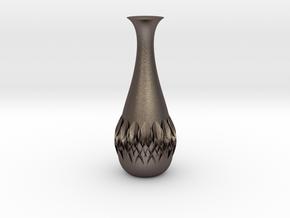 Flower Vase in Polished Bronzed Silver Steel