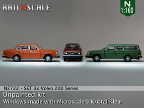 SET 3x Volvo 200-series (N 1:160) in Smooth Fine Detail Plastic