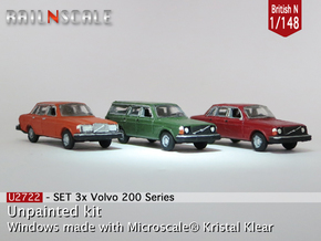 SET 3x Volvo 200-series (British N 1:148) in Smooth Fine Detail Plastic