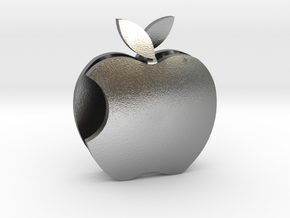 Apple Sculpture in Natural Silver