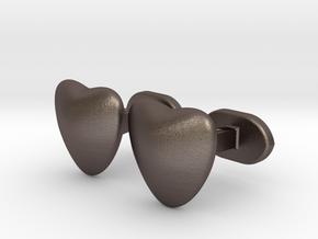 Half heart Cufflinks in Polished Bronzed Silver Steel