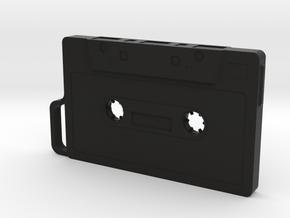 Cassette shape Keyring Key fob (Large) in Black Natural Versatile Plastic