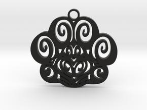 Feline Pawprint in Black Natural Versatile Plastic