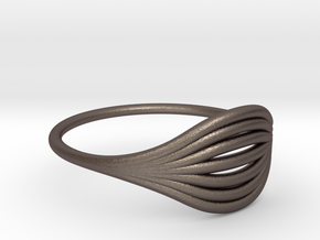Flow Ring 01  in Polished Bronzed Silver Steel