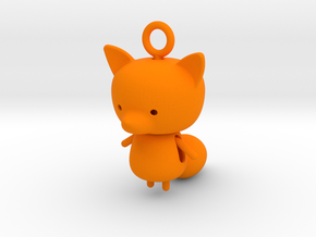 Fox Pendant in Orange Processed Versatile Plastic