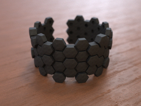 Honeycomb geometric bracelet in Black Natural Versatile Plastic