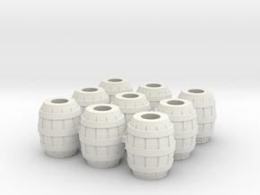 9 Barrels for 28mm minis in White Natural Versatile Plastic