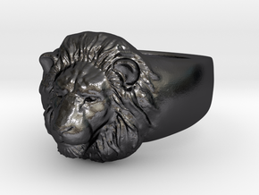 Lion Ring (size11) in Polished Grey Steel