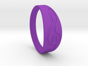 Size 9 M G-Clef Ring Engraved in Purple Processed Versatile Plastic