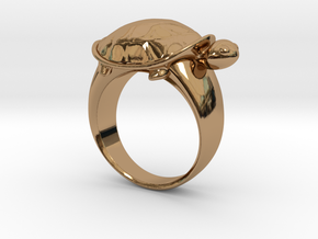 Turtle Ring (Size 7.5) in Polished Brass