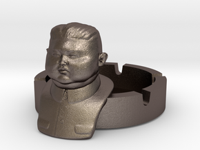 Kim Jong Ashtray Ver. 2 in Polished Bronzed Silver Steel