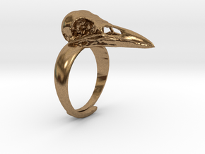 Crow Ring With Logo in Natural Brass