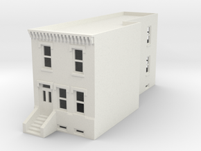 N scale Row House fixed in White Natural Versatile Plastic