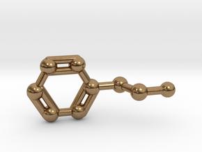Phenethylamine Molecule Keychain Pendant in Natural Brass