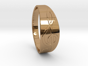 Size 9 M G-Clef Ring  in Polished Brass