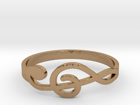 Size 7 G-Clef Ring  in Polished Brass