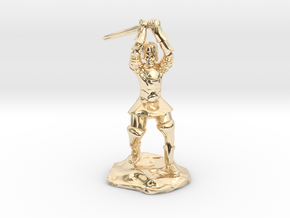 Human Paladin Zealot of Pelor With Longsword in 14K Yellow Gold