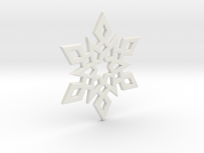 Snowflake Charm 2 in White Natural Versatile Plastic