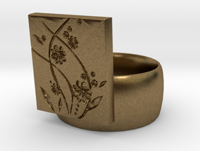 Flower  Ring Version 2 in Natural Bronze