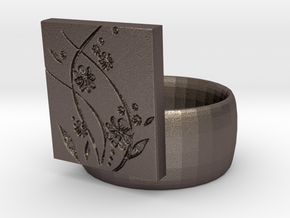 Flower  Ring Version 2 in Polished Bronzed Silver Steel