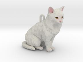 Custom Cat Ornament - Blanca in Full Color Sandstone