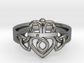 Triquetra Claddagh Ring in Polished Silver: 5 / 49