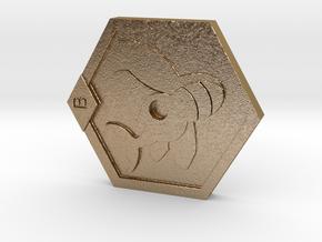 Medabots Kabuto Medal Tribute art V1 in Polished Gold Steel