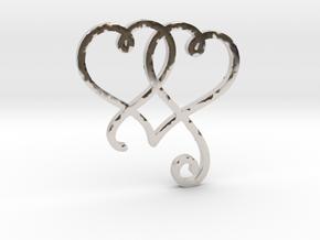 Linked Swirly Hearts (~4mm depth) in Platinum