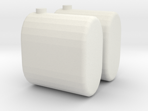Saddle Tanks, Round Ends Connected 1/64  in White Natural Versatile Plastic