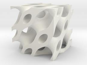 Piped Cube in White Natural Versatile Plastic