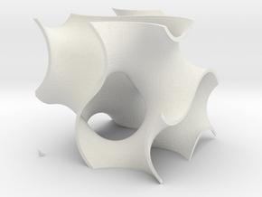 Gyriod Cube in White Natural Versatile Plastic