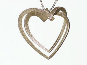 2 Hearts in Stainless Steel: Large