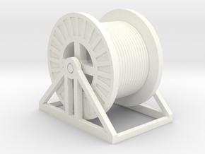 N Scale Steel Cable Reel (Full) in White Processed Versatile Plastic