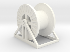 N Scale Steel Cable Reel (Empty) in White Processed Versatile Plastic