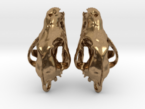 Wolf Skull Earrings in Natural Brass