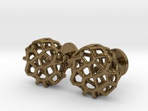 Organic Round Cufflinks in Polished Bronze