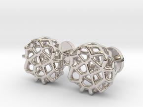 Organic Round Cufflinks in Platinum