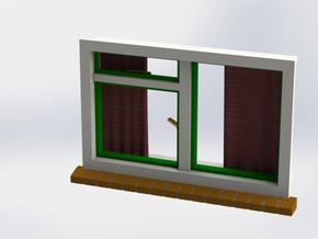 Window with curtains 1:32 1:35 54mm miniature in White Natural Versatile Plastic