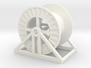 HO Steel Cable Reel (Empty) in White Processed Versatile Plastic
