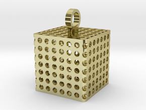Perforated Cube Pendant  in 18K Gold Plated