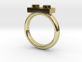 2 Block Lego Style Ring in 18K Gold Plated